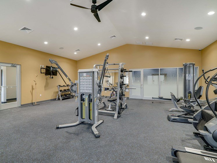 Spacious and modern gym and fitness center at The Flats at Shadow Creek new luxury apartments in east Lincoln NE 68520