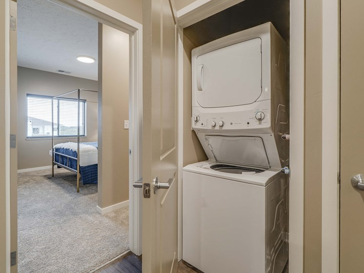 Washer and dryer are included in every floorplan at The Flats at Shadow Creek new luxury apartments in east Lincoln NE 68520