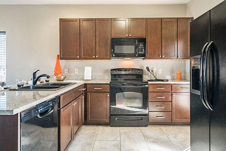 Large Kitchen with open kitchen and seated island at The Villas at Wilderness Ridge in Lincoln Nebraska