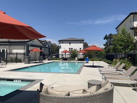 Swimming Pool at  Meridian at Phillips Ranch Apartments in Pomona California