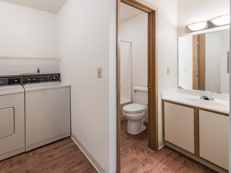 Bathroom with Washer at Chatham Village Apartments, Columbus, Ohio