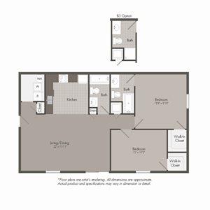 B2 Floor Plan at Parkwood Terrace, Round Rock, Texas