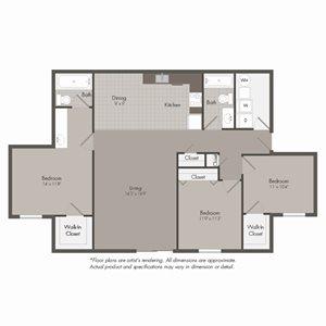 C2 Floor Plan at Parkwood Terrace, Texas