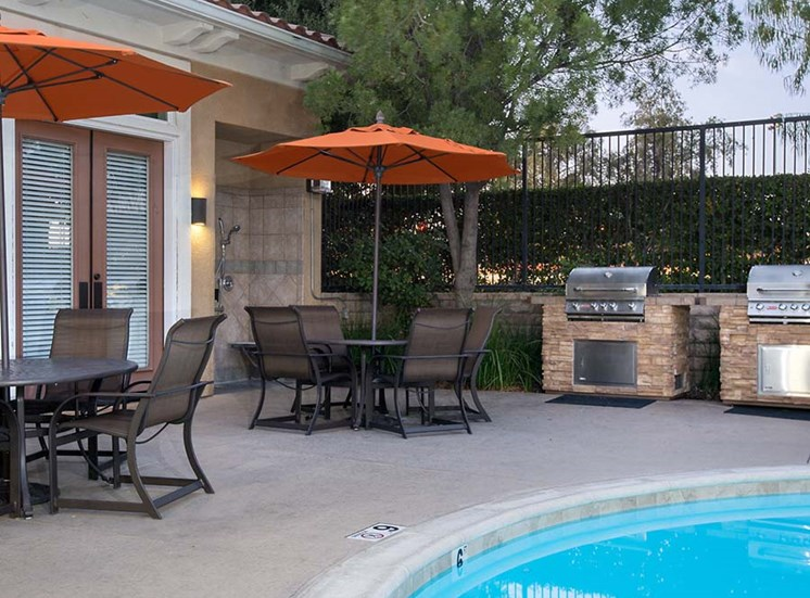 BBQ area by pool l Hidden Valley Apartments in Simi Valley Ca