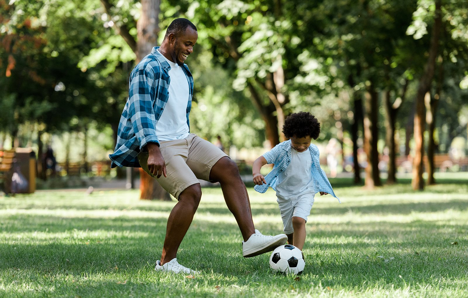 Dan and son playing with ball