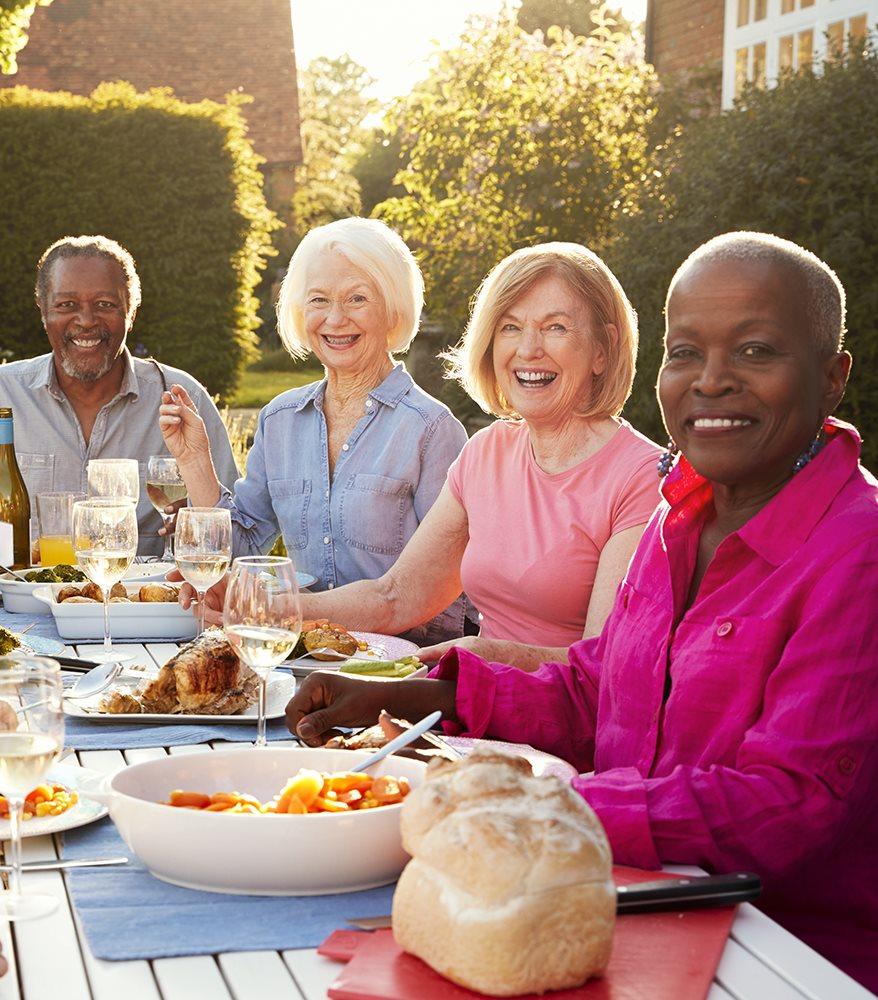 Friends dining and enjoying the outdoors