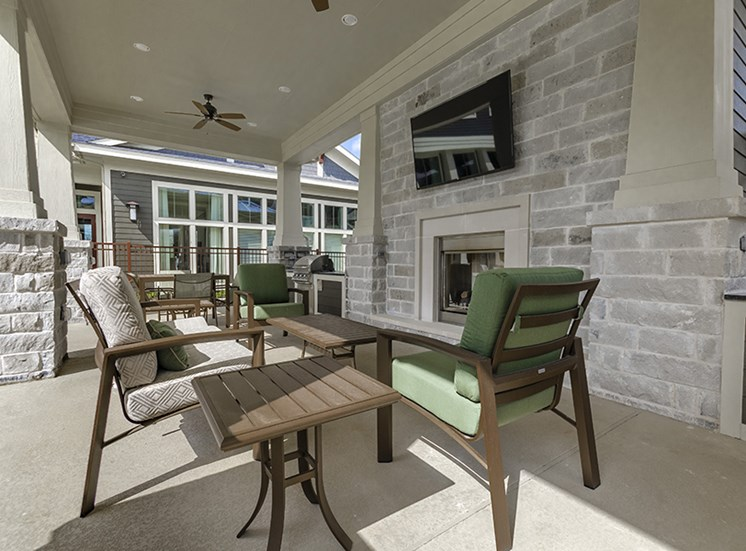Outside seating by fireplace