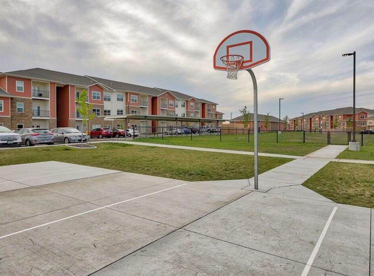 Basketball court near grass