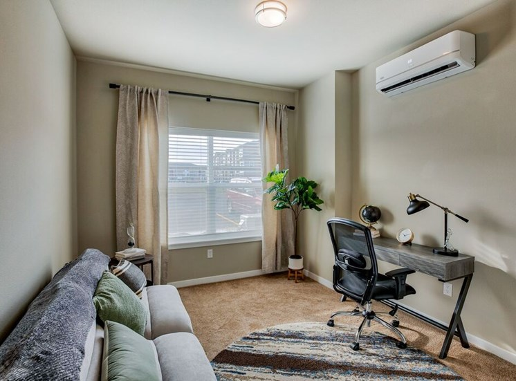 Office set up in room with window