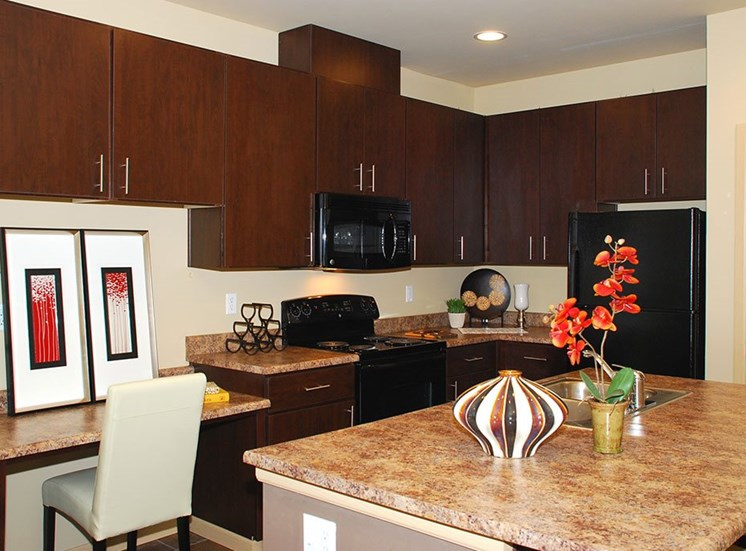 Apartments for Rent in Olympia WA - Spacious Gourmet Kitchen With Espresso Cabinets, Granite Countertops, and Sleek Black Appliances