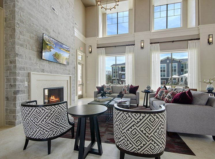 Clubhouse with seating area  by fireplace