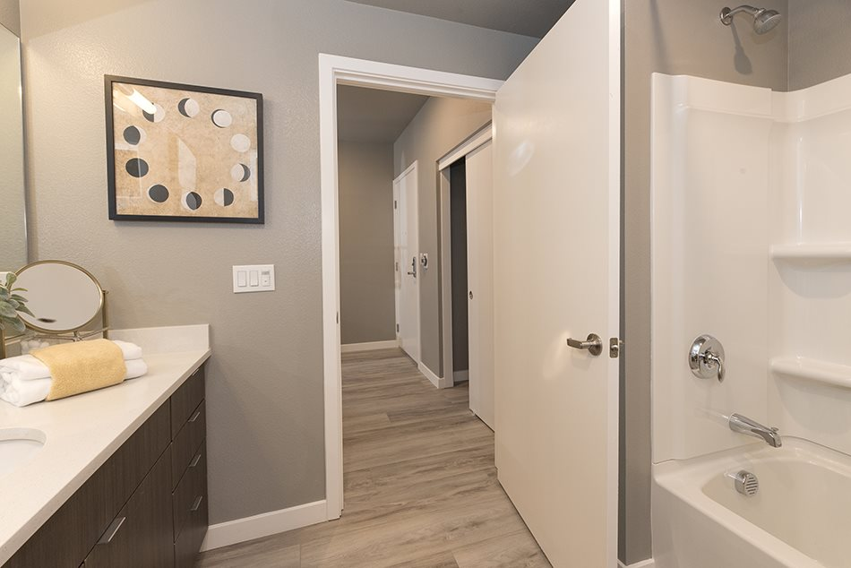 Bathroom vanity and tub/shower