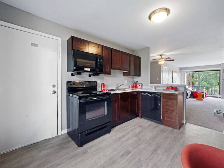 kitchen with plank flooring