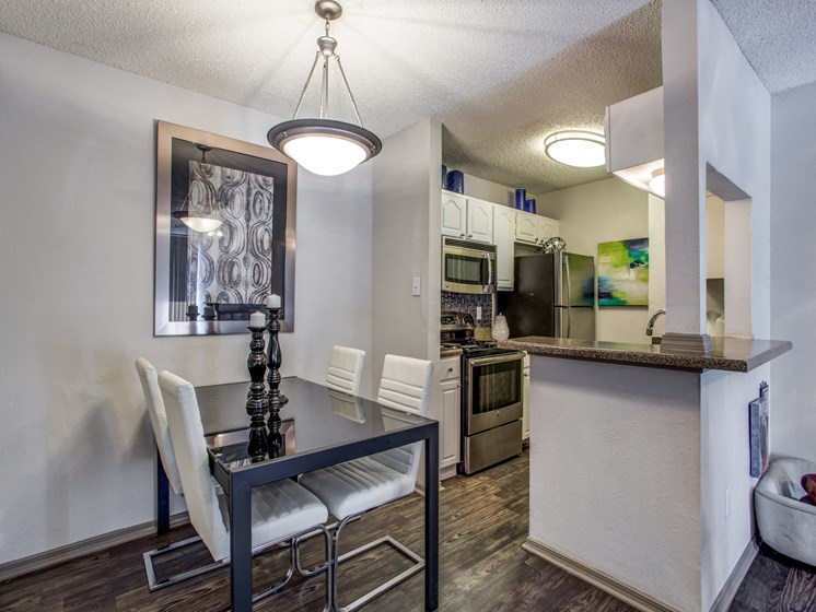 Austin TX Apartments-The Vibe Apartments Dining Room Area with Breakfast Bar