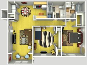 2 Bed, 2 Bath, 1081 sq. ft.
