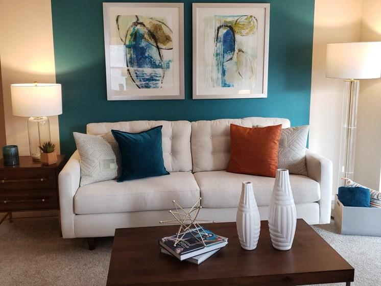 Decorated Walls & Soft Sofa at Brook Valley Apartments, Georgia