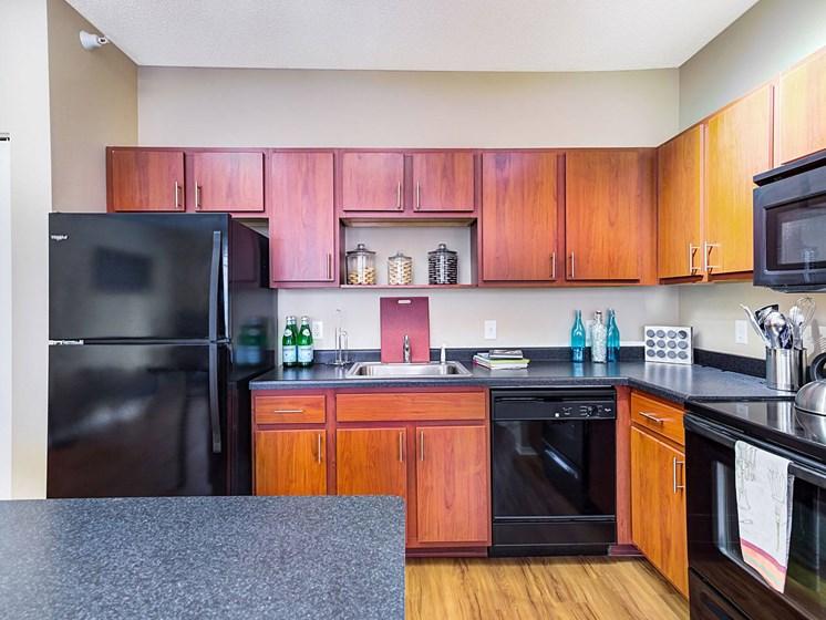 refrigerator with dishwasher at Uptown Lake Apartments, Minneapolis