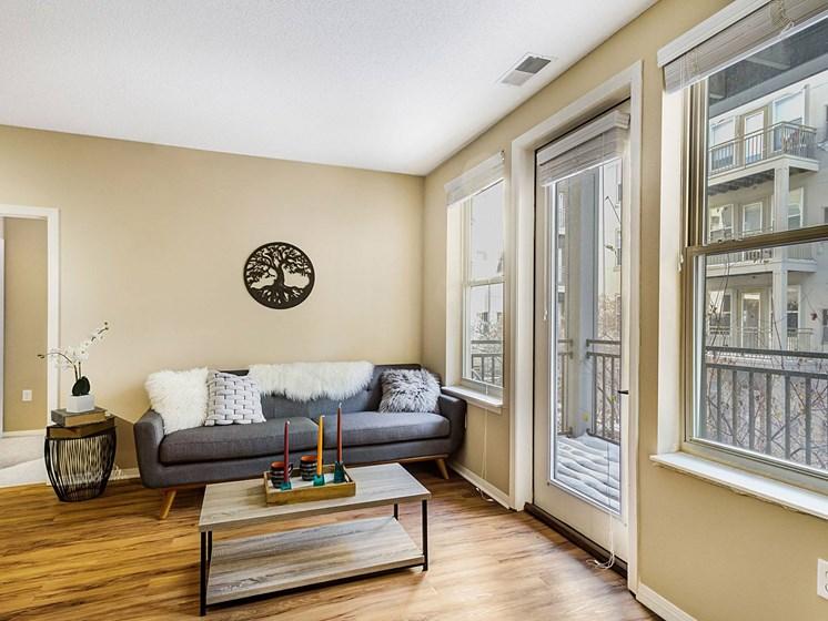 spacious living room spaces at Uptown Lake Apartments, Minneapolis, Minnesota