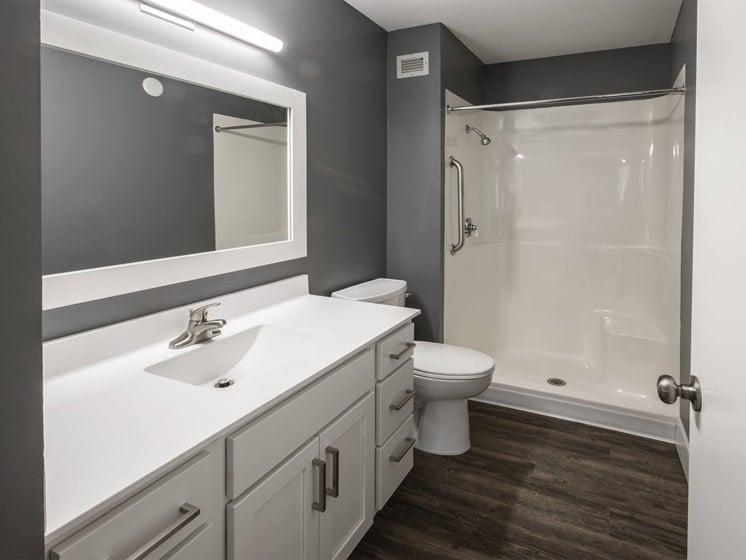 bathroom with updated countertops