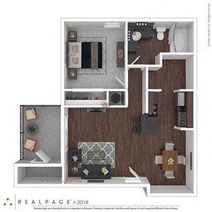 1 Bed 1 Bath 689 square feet floor plan THE AZALEA 3d furnished