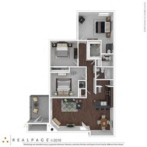 3 Bed  2 Bath 1253 square feet floor plan THE HIBISCUS 3d furnished