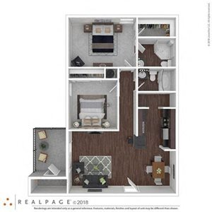 2 Bed 2 Bath 960 square feet floor plan THE HYDRANGEA 3d furnished