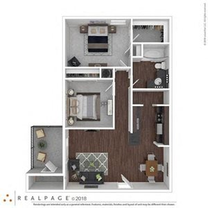 2 Bed  1 Bath 880 square feet floor plan THE WISTERIA 3d furnished