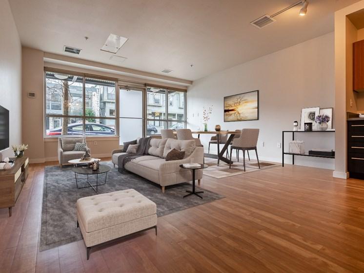 spacious living area with hardwood floors