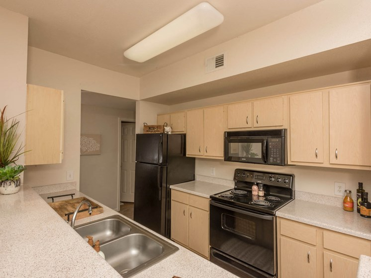 Updated kitchen with black appliances