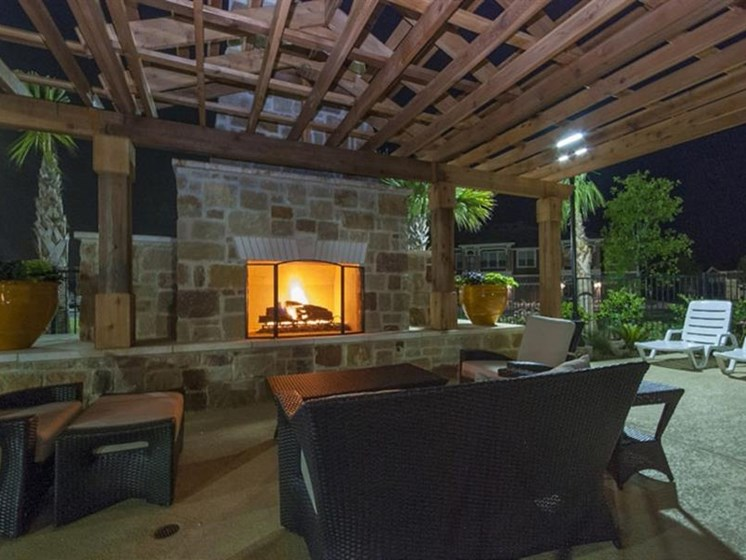 Outdoor Fireplace Lounge With Cabana at Parc Woodland, Conroe