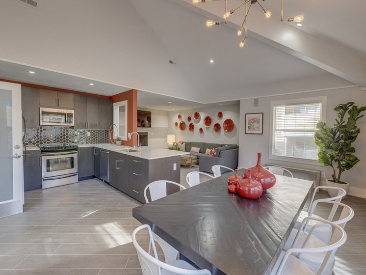 open floor plans with separate dining area