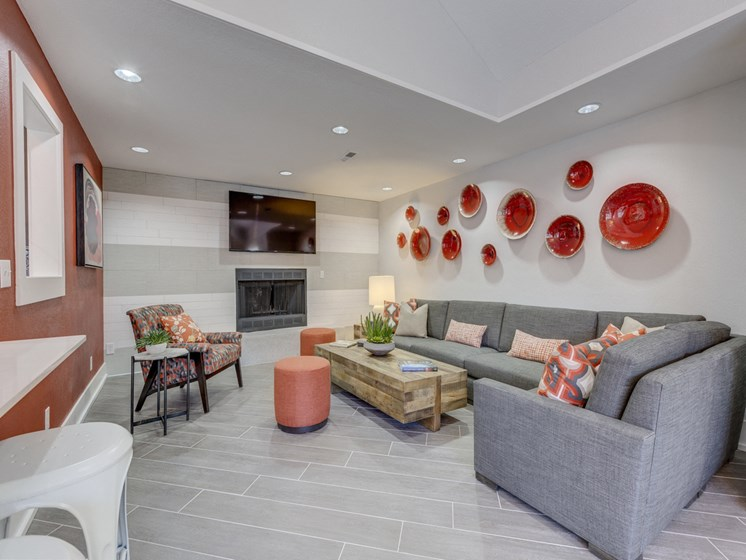 furnished living rooms with fireplace