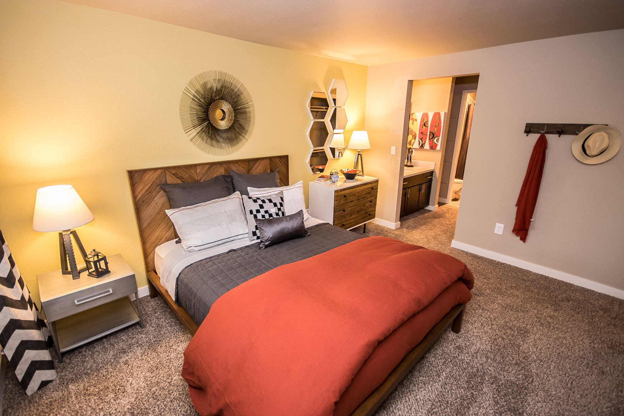 Apartments Tacoma WA-The Fairways Apartments Master Bedroom with Large Closet, Cozy Carpet, and Private Bathroom
