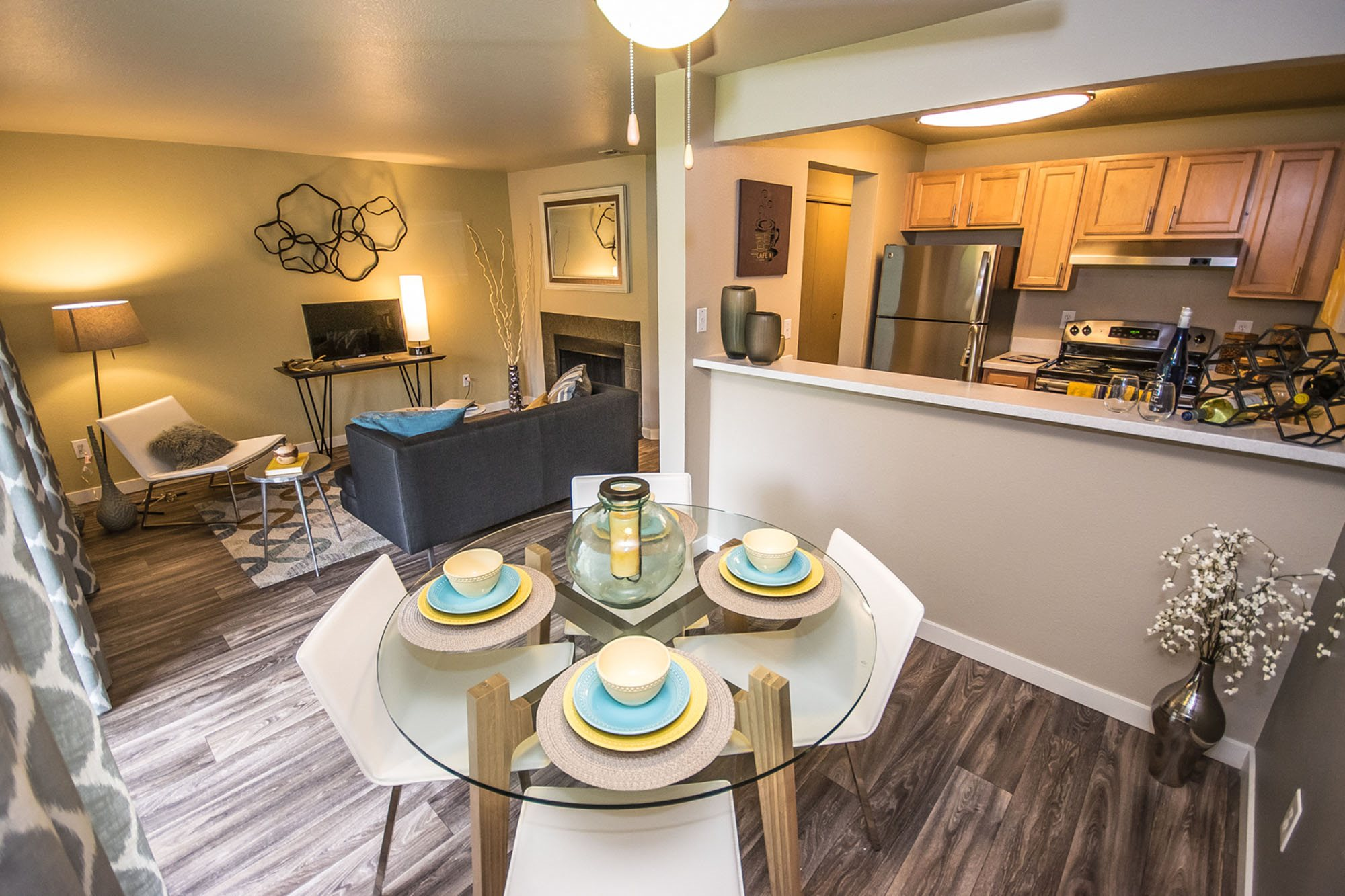 Open Living Room & Dining Area at The Fairways Apartments, Tacoma, WA,98422