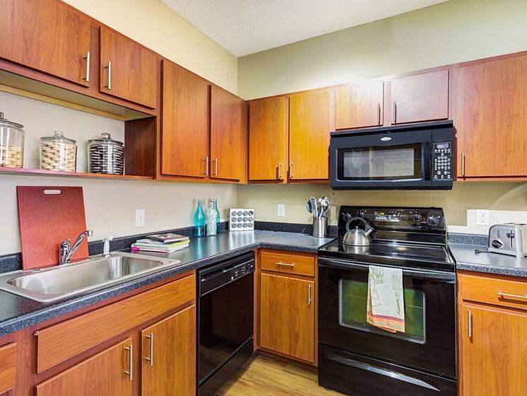 kitchen view at Uptown Lake Apartments, Minnesota