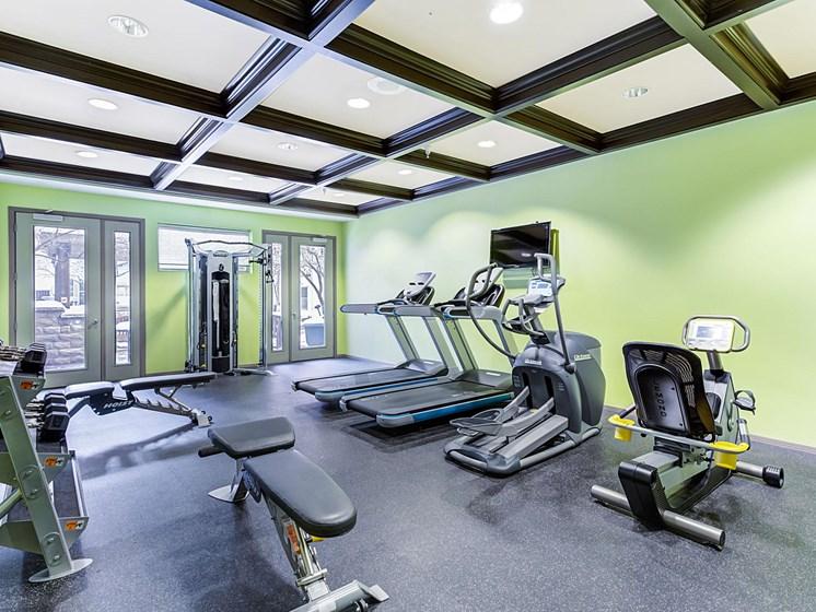 spacious fitness center at Uptown Lake Apartments, Minneapolis