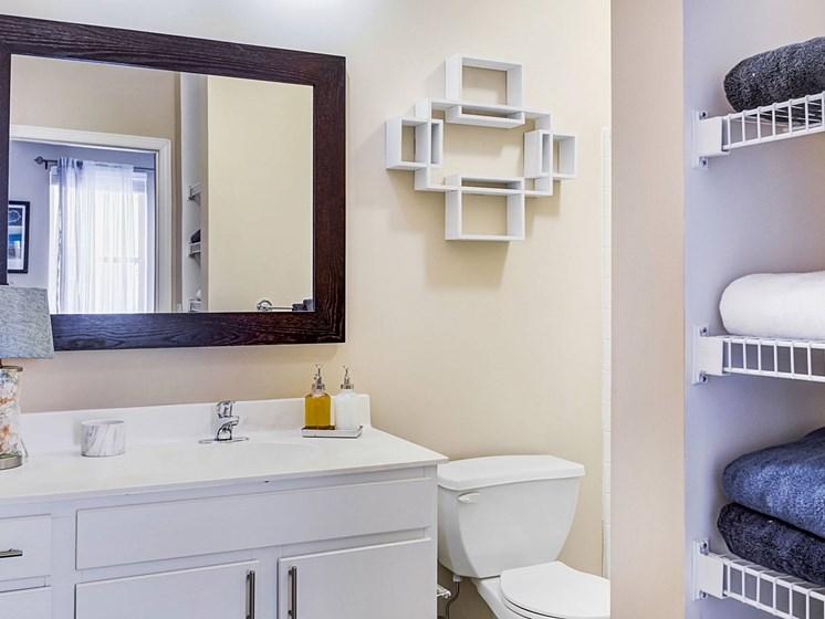 spacious bathroom with storage at Uptown Lake Apartments, Minneapolis, 55408