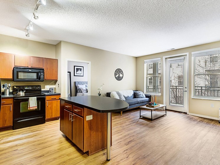 living room/dining room at Uptown Lake Apartments, Minnesota, 55408