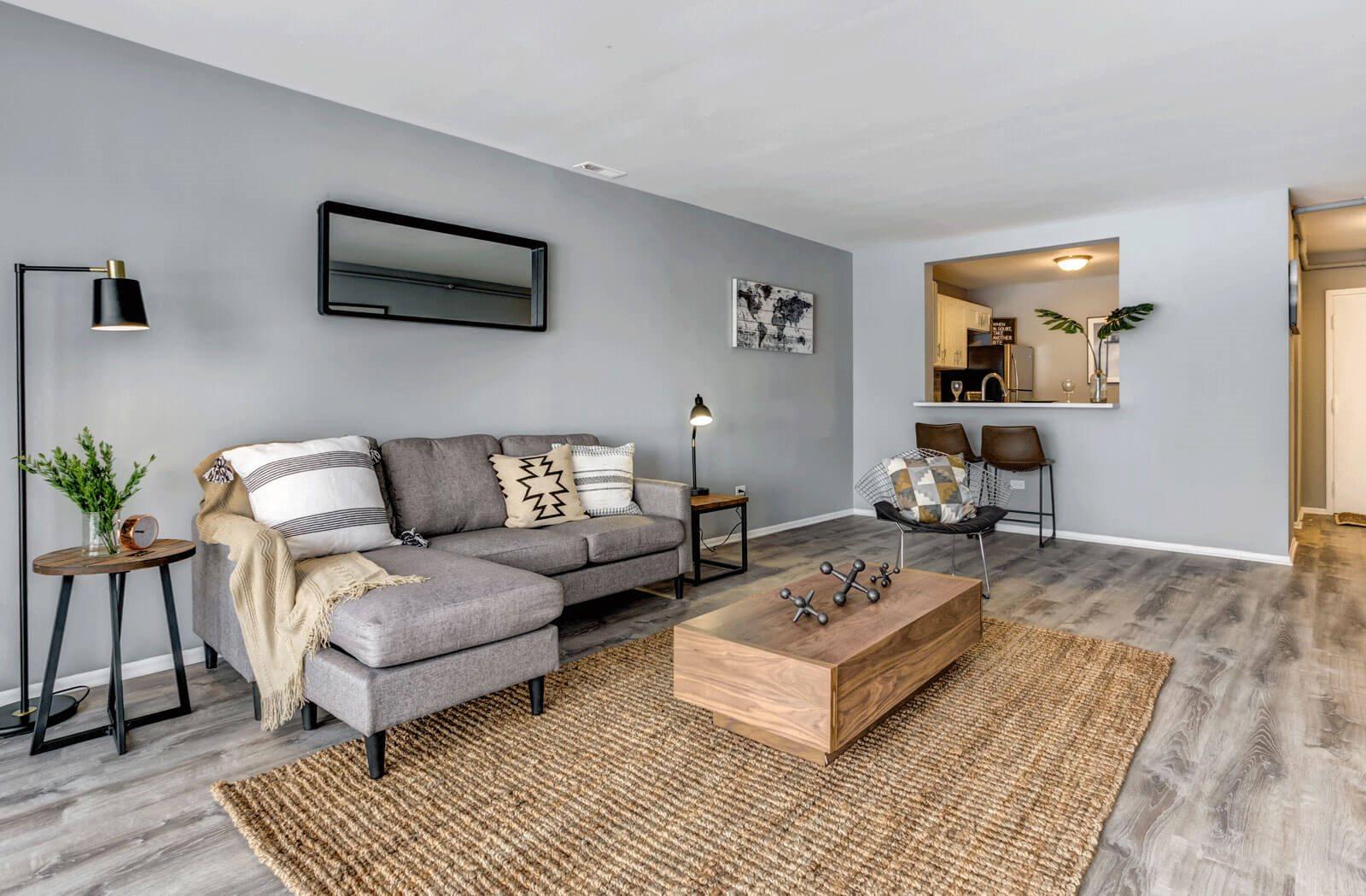 Modern Living Room at Birchwood on Sterling, Illinois, 60067