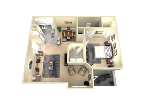 1 Bed, 1 Bath, 850 sq. ft. The Athens