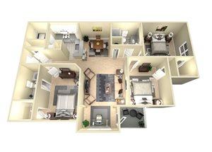 3 Bed, 2 Bath, 1355 sq. ft. The Atlanta