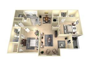 2 Bed, 2 Bath, 1165 sq. ft. The Melbourne