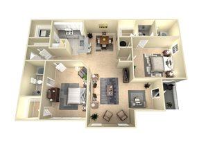 2 Bed, 2 Bath, 1165 sq. ft. The Sydney