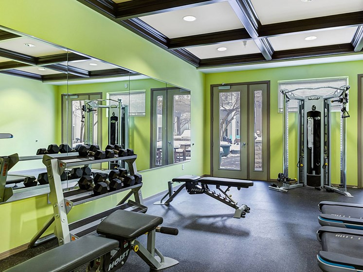 fitness center at Uptown Lake Apartments, Minneapolis, 55408