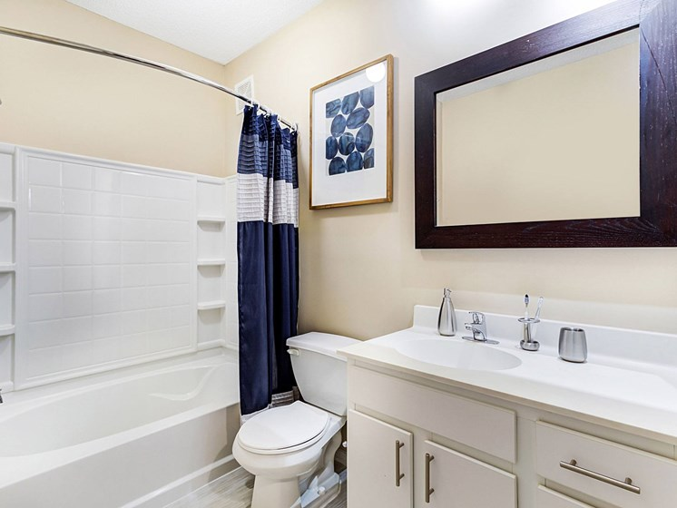 bathroom with shower at Uptown Lake Apartments, Minneapolis, MN, 55408