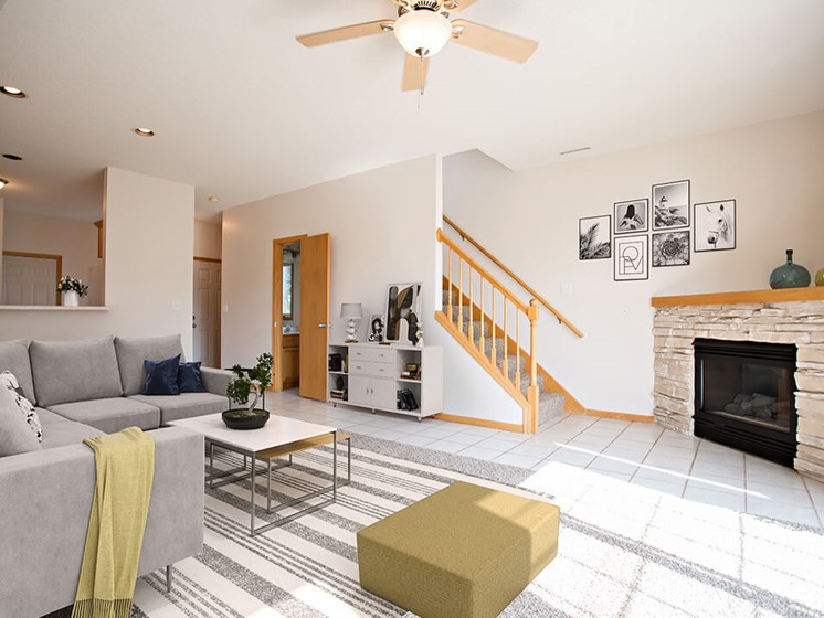 living room at Rochester MN townhome for rent