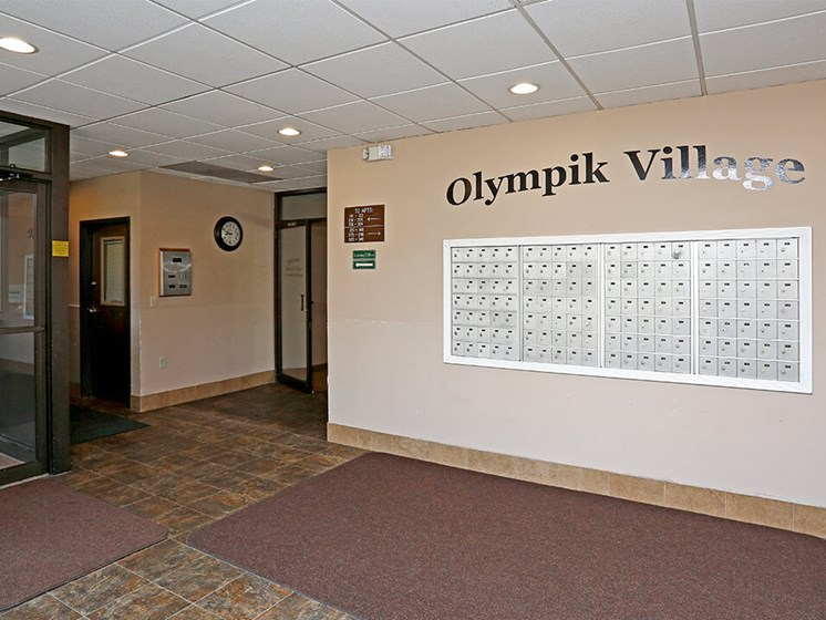 mailroom at Olympik Village Apartments