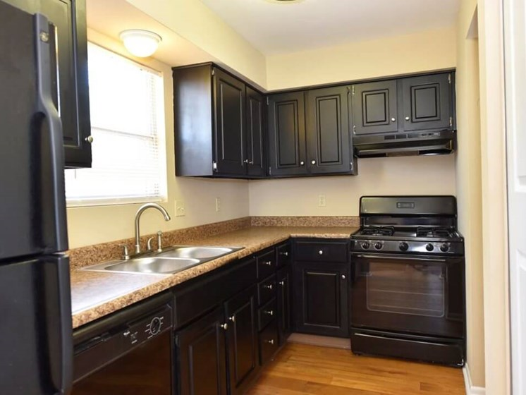 All black kitchen in Pavilion Lakes Apartments