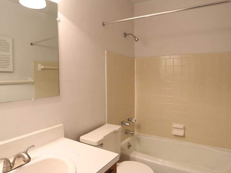 Bathroom at The Bookville apartments