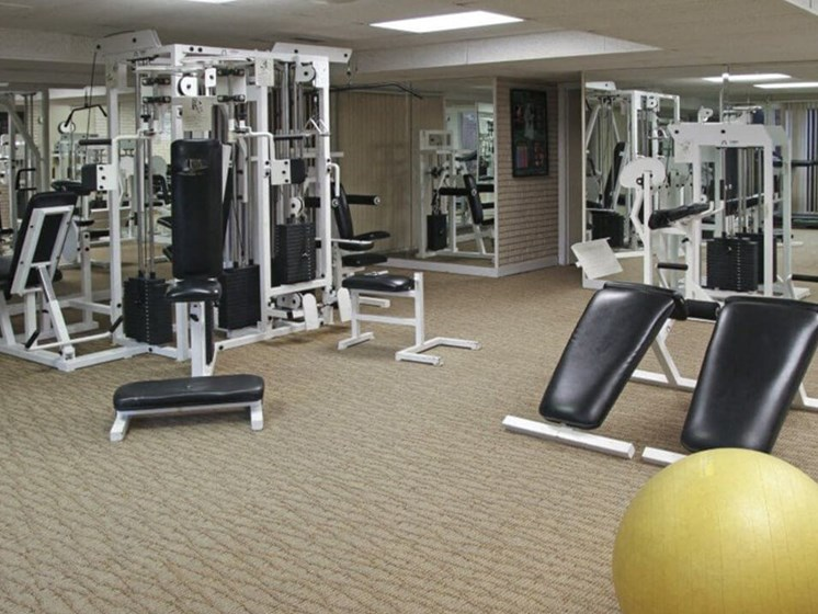Fitness center at The Brookville apartments